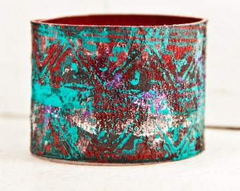 Turquoise Bracelet Cuff Southwest Leather Jewelry- Handpainted Bohemian Teal Wristbands - Etsy Shopping Boho Gypsy Chic