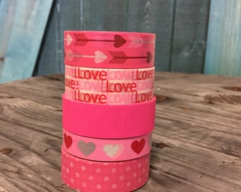 Washi Tape Set - 15mm - Valentine Combination -Lots of LOVE - Five Rolls Washi Tape No. 175, 381, 653, 1134, 1135