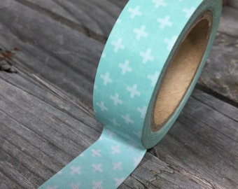 Washi Tape - 15mm -White pattern on Aqua - Deco Paper Tape No. 941