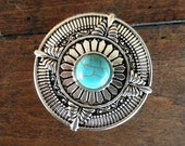 Bohemian Round Drawer Knobs - Furniture Knobs - Cabinet Knobs with Turquoise Stone (MK139))
