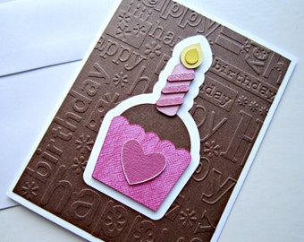 Cupcake Birthday Card in Chocolate Brown and Pink
