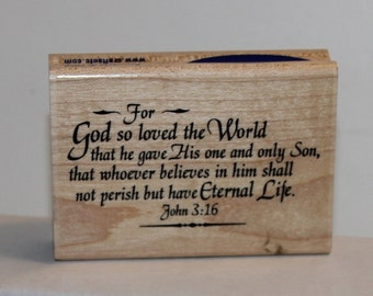 John 3:16 Bible Verse Rubber Stamp For God so loved the world