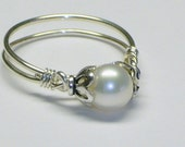 Purity Ring, White Freshwater Pearl, Sterling Silver
