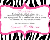 Zebra Print Baby Shower Thank You Card - You Print - 4x6 or 5x7