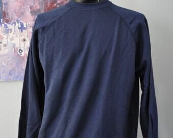 Soft Thin Plain Navy Blue Vintage Sweatshirts Two Sizes Available Comfy Grunge Slouch Boyfriend Ladies mens XL or Medium