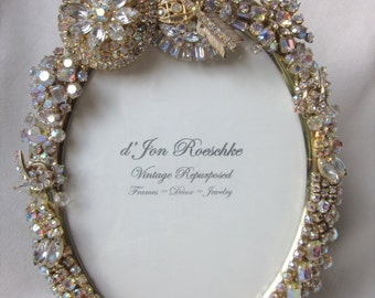 Vintage Rhinestone Jewelry Picture Frame Repurposed AB Brooch Bracelet Neklace Earrings