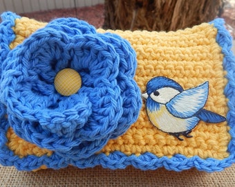 Crocheted Purse  ~ Yellow and Blue with Bird Crocheted Cotton Little Bit Purse  ~  Bubble Gum Style Crocheted Purse