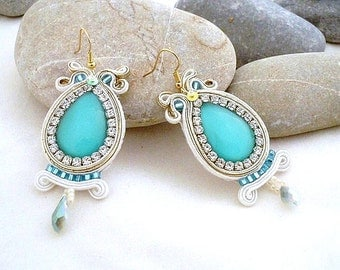 dangle bead work turquoise jewelry | aqua french hook earring | crystal rhinestone gold white wedding | beachy boho drops | mothers day gift