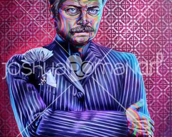 "14"" X 11""  Ron Swanson Portrait Nick offerman  - Print"