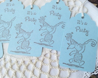 Winnie the Pooh Piglet Birthday Party Tags Set of 16
