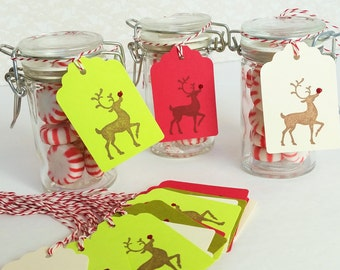 35 Christmas Gift Tags Rudolph North Pole Winter Holiday Deer Favor Tags Santas Helper Bakers Twine