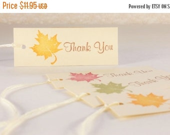 SALE Leaves Thank You Tags Wedding Favor Tags Autumn Fall Thanksgiving Decorations Set of 30
