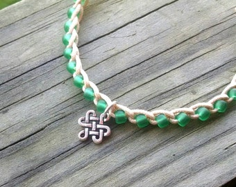 Anklet Jade Green with Celtic Knot Charm Size and Color choices