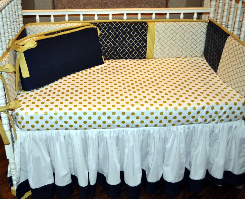 Baby Bedding Navy and Gold Quatrefoil Glitz Baby Bedding