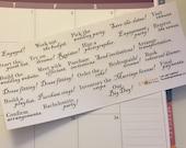 Wedding Words | Wedding Labels | Wedding Tracking Stickers