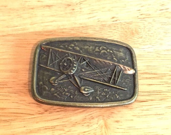 Belt Buckle // Airplane // Vintage // Brass