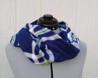 Navy Blue Plaid Print Infinity Fleece Scarf