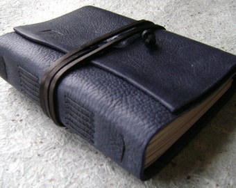 "Leather journal / travel journal, 4"" x 6"", navy blue, 312 pages handmade leather journal (2109)"