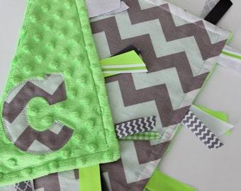 baby, boy, taggie, blanket, personalized, chevron, custom, gift, gray, green, minky, ribbon, tags, sensory, lovey