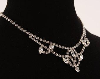 Vintage Rhinestone Necklace Choker Jewelry 1950s Elegant Princess Art Deco