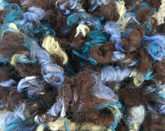 Art Yarn, Bulky Alpaca Yarn, Chunky Alpaca, Textured Yarn, Hand Spun, Natural Dark Brown, Blues, Greens