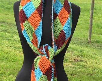 Entrelac Crocheted Alpaca Scarf, Hand Crocheted, Alpaca Yarns, Blue, Green, Burgundy, Orange