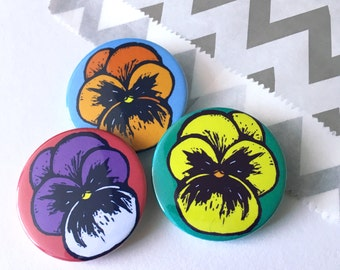 Pansy Flower badges, Stocking Stuffer, Gift for Her, Flower brooch, lapel pin badge, party bag fillers, party favours, Stocking fillers