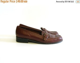 ON SALE Vintage Etienne Aigner Brown Leather Loafers - size 8