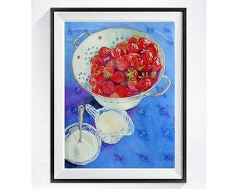 Strawberry fruit art Watercolor Print  Bowl of Strawberries Cream Sugar Still Life Fine art red blue Kitchen art Kitchen decor A