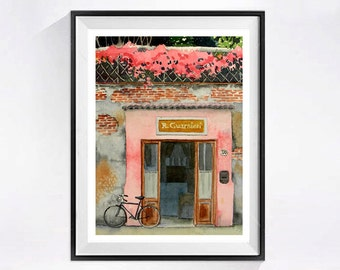 Old Door Art Print Watercolor painting bike Watercolour bicycle artwork cycling road trip Old European building Bicycle artwork pink A