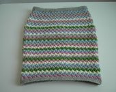 Ladie's mini woolen cable knitted skirt in rainbow colours - free shipping and handling