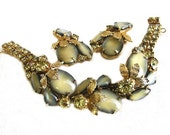 Olive and Yellow Art Glass Bracelet and Earrings Set, Art Glass Demi Parure
