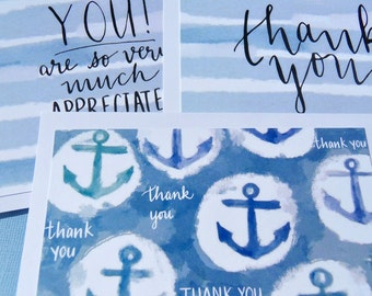 Thank You Note Cards - Postcard nautical note cards - Nautical Thank You Note cards - Blue and White Thank You Note Cards - wf1