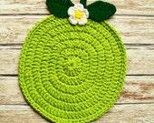 Lime Fruit Pot Holder Hot Pad COTTON Green Potholder Crochet Handmade Kitchen Kitchenwares Decor