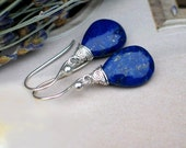 Lapis Lazuli Earrings | Royal Blue Smooth Pear Drops | Wire Wrapped in Argentium Silver Dangles | Midnight Silver | Gift Ready to Ship