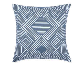 BLUE Pillow Cover.Decorator Pillow Cover.Home Decor.Large Print. PHASE GUNMETAL. Cushions. Cushion.Pillow. Premier Prints