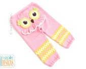 Knitted Pink Owl Pants READY to SHIP