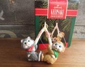 1992 Hallmark Holiday Wishes Cats with Wishbone Keepsake Ornament
