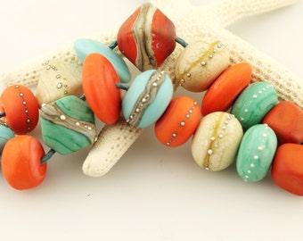 Lampwork Beads, SRA Handmade Bright Glass Bead Set Orange Turquoise, Taos Summer'