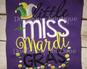 Little Miss Mardi Gras embroidered shirt