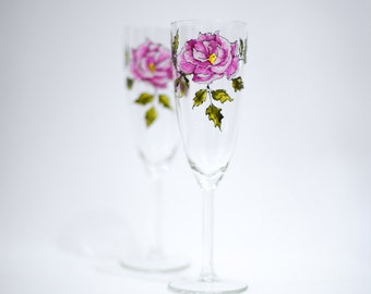 Roses are pink toasting flute -- hand painted champagne flute