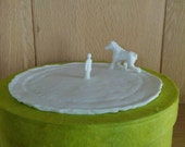 SALE Sculpture of coaching session with a horse in white porcelain