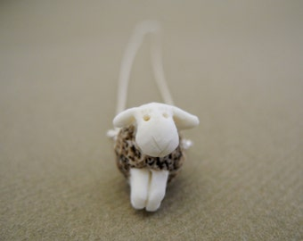 the Black sheep - porcelain pendant on a sterling silver rope chain - necklace