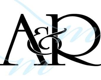 Intertwining Ampersand Monogram - A&R (instant download - JPG, PSD, PDF)