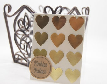 36 Gold Heart Stickers 3/4 Inch Stickers Envelope Seals Packaging Stickers
