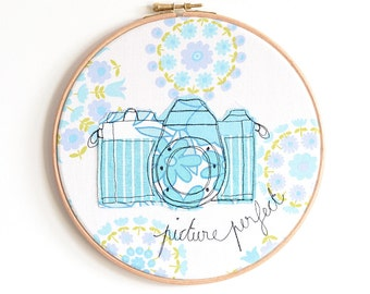 "Vintage Camera - Personalised Embroidery Hoop Art - Textile Artwork in blue - 8"" hoop"