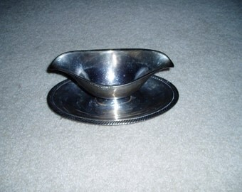 Vintage Castleton Silver Plated Gravy Bowl with Attached Plate