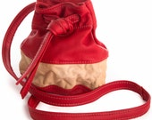 Small Leather Bucket Bag in Red and Tan leather - Crossbody, Compact, Adjustable Strap