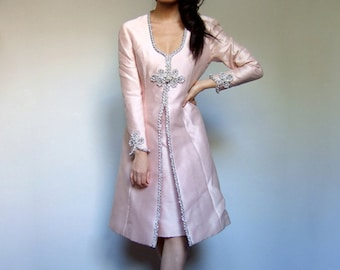 Vintage Pink Dress Late 50s Early 60s Metallic Rhinestone Sequin Long Sleeve Elegant Cocktail Party Dress 1960s 1950s - Medium M