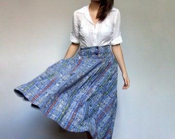 Midi Skirt with Pockets Womens Vintage 80s Full Patchwork Plaid Long Blue Spring Skirt - Medium M